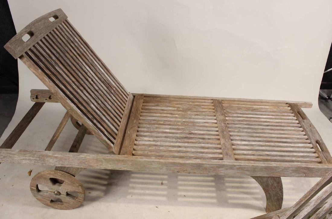 Pair of Weathered Teak Chaise Lounges - 6