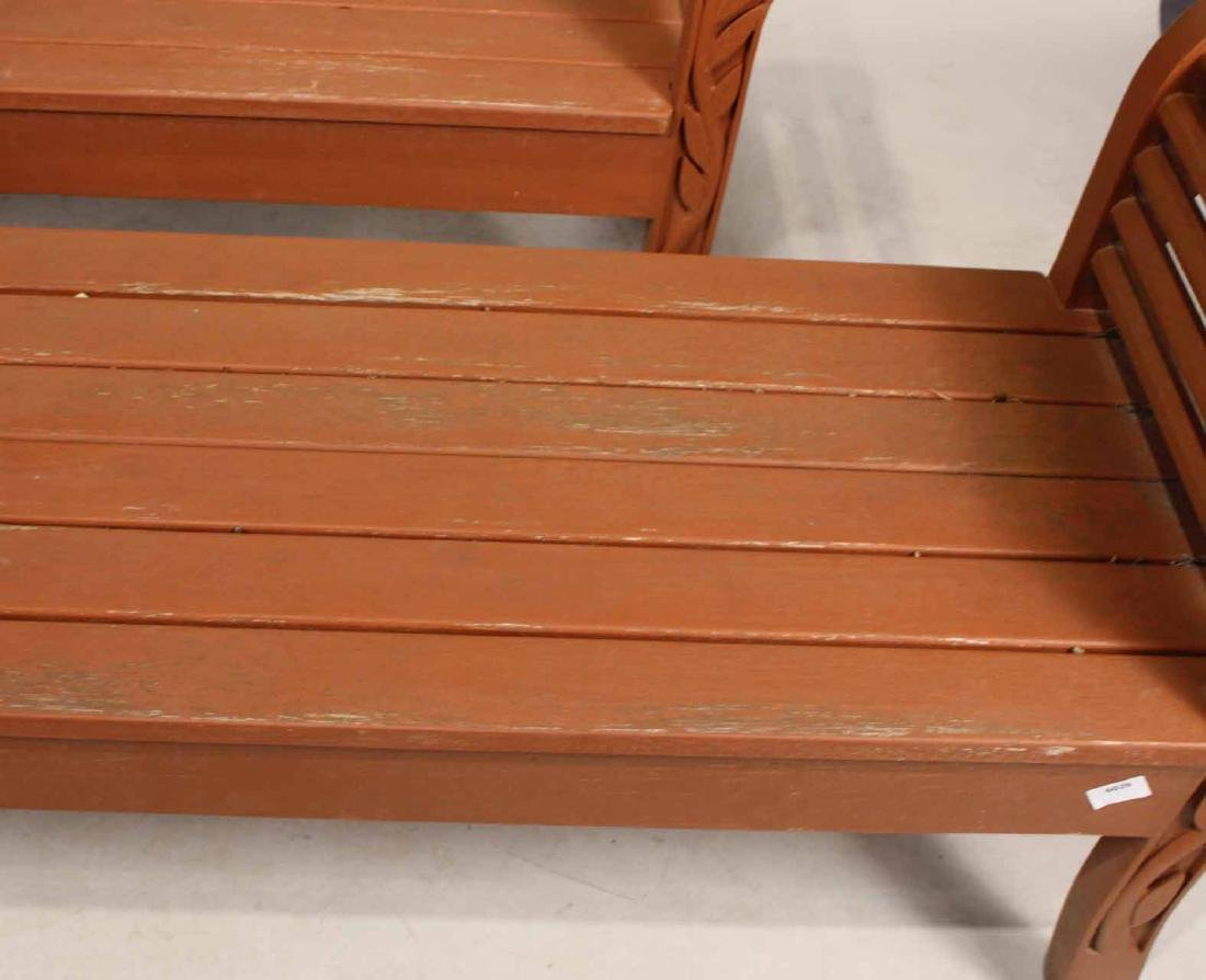Pair of Carved and Painted Wood Garden Benches - 4