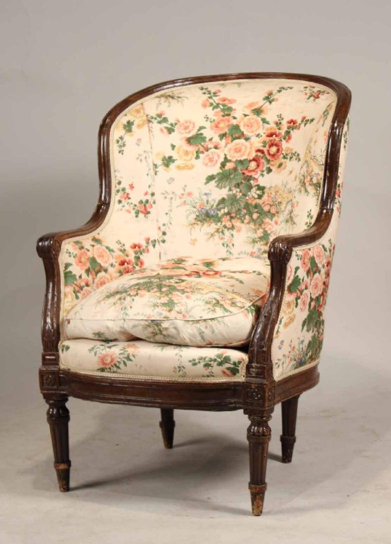 Louis XVI Style Carved and Painted Wood Bergere