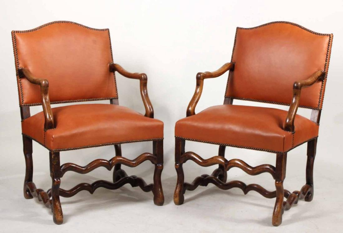 Pair of French Walnut os du Mouton Fauteuils