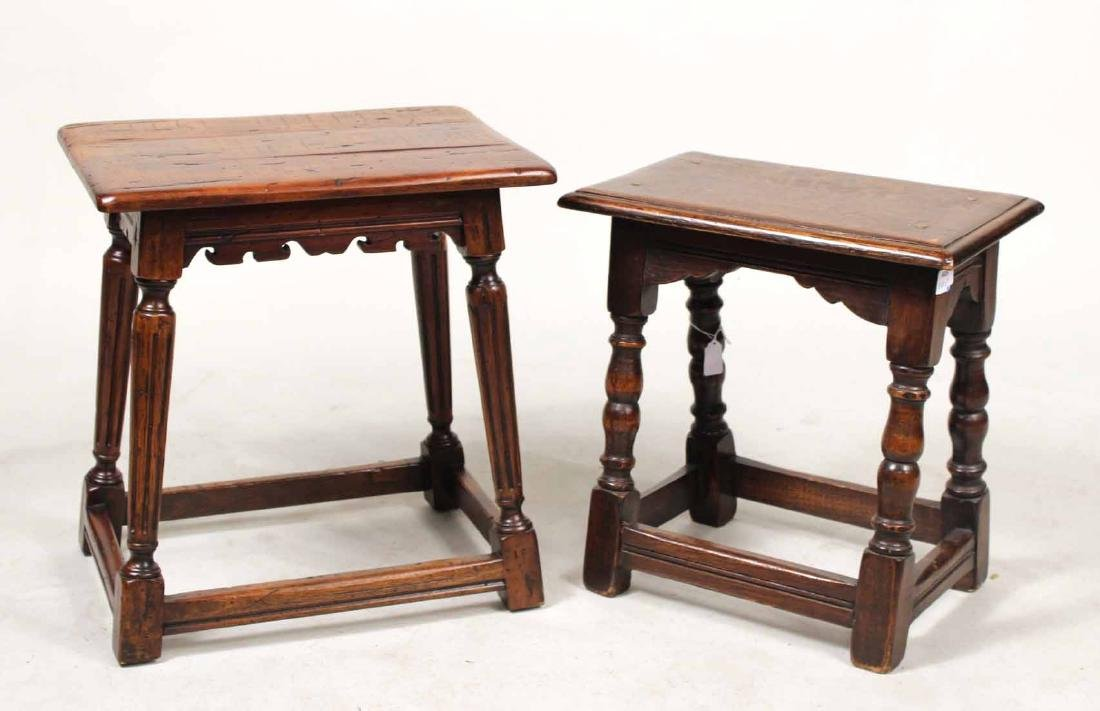 Two Jacobean Style Oak Joint Stools
