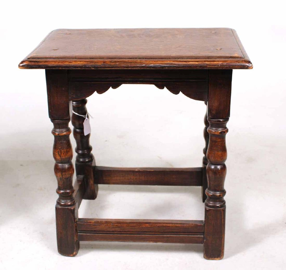 Two Jacobean Style Oak Joint Stools - 3
