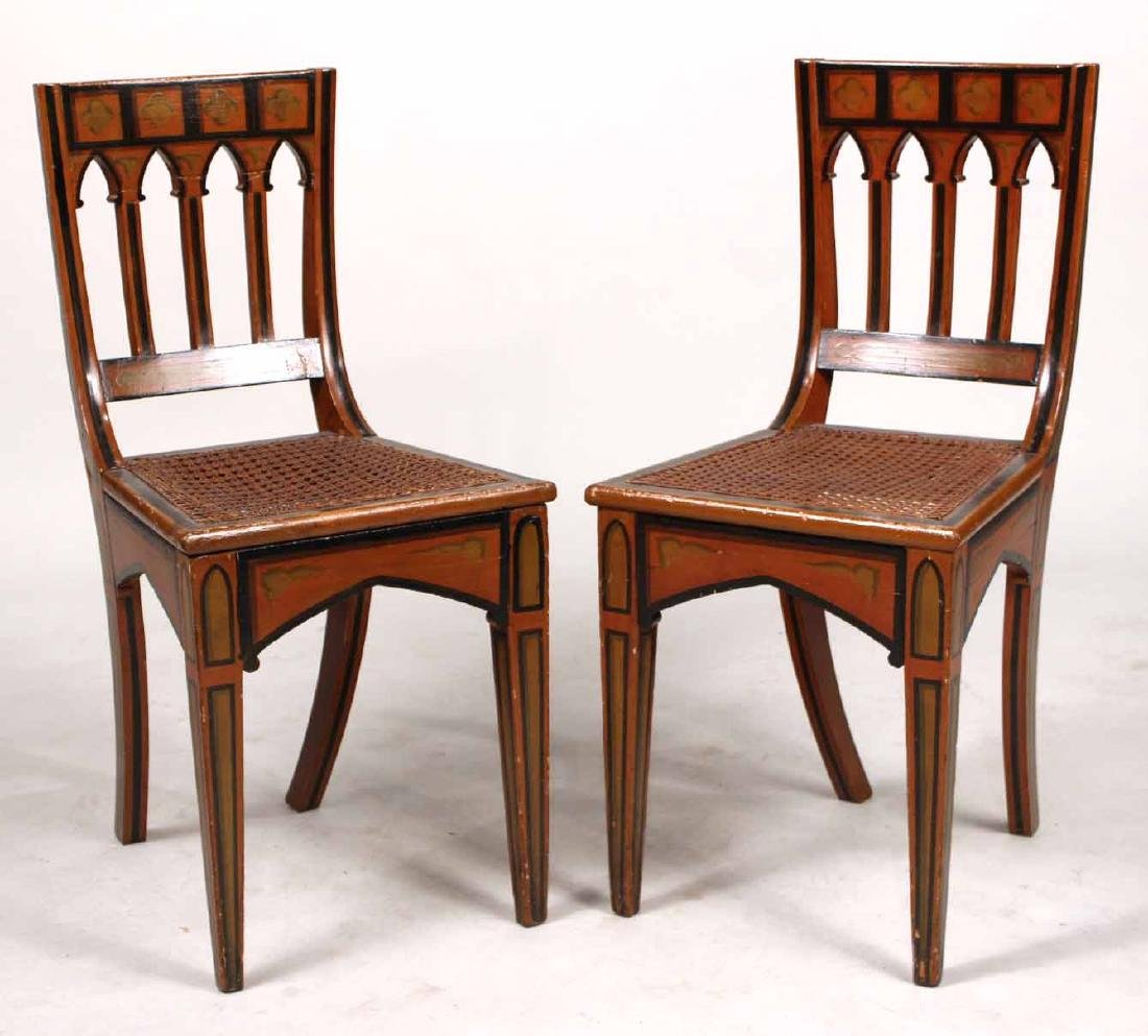 Pair of Gothic Paint-Decorated Side Chairs