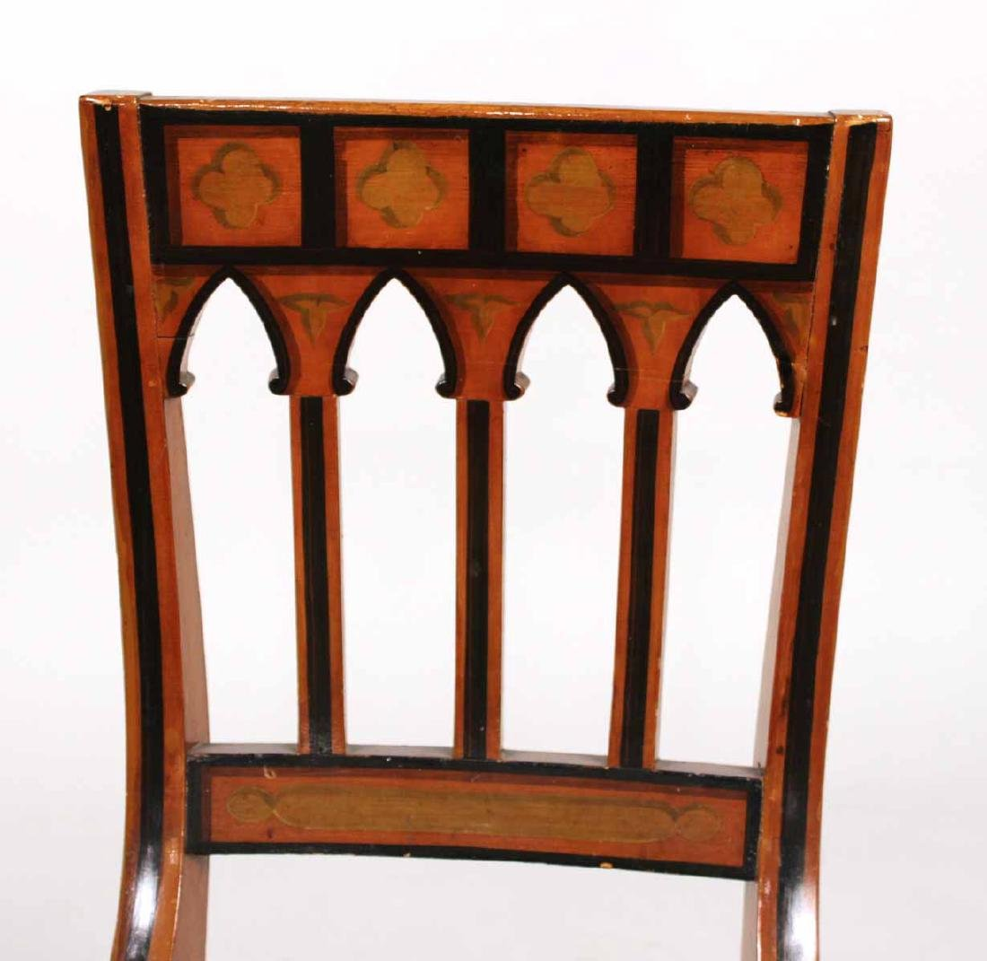 Pair of Gothic Paint-Decorated Side Chairs - 4