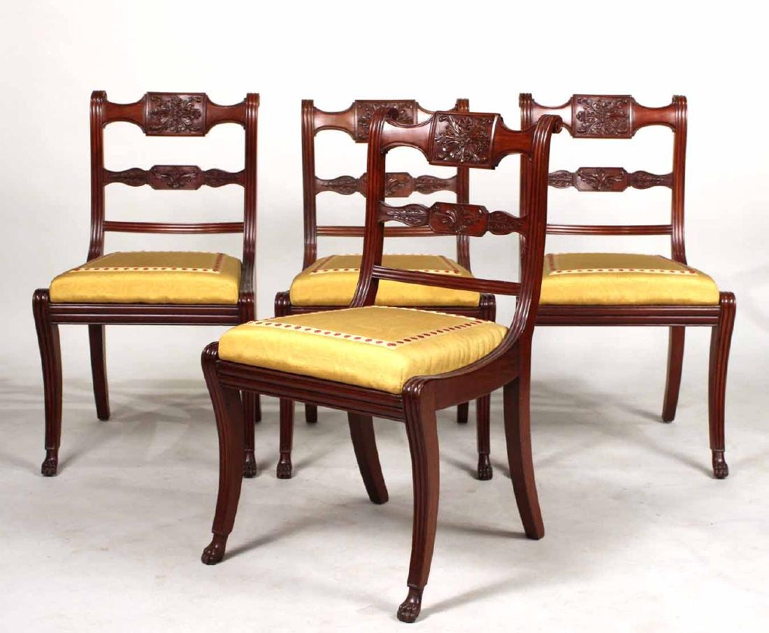 Four Neoclassical Carved Mahogany Dining Chairs