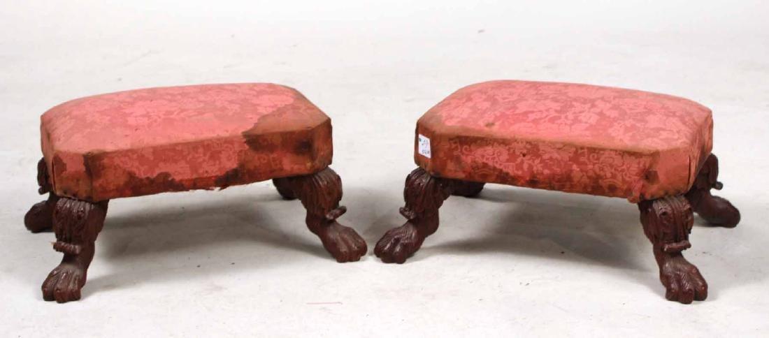 Pair of Empire Carved Mahogany Footstools