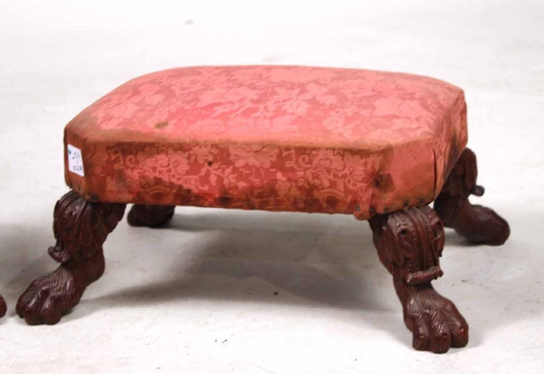 Pair of Empire Carved Mahogany Footstools - 2