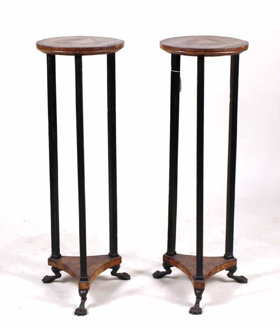 Pair of Neoclassical Ebonized Pedestals