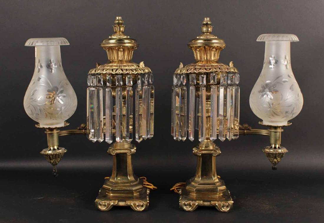 Pair of Gilt Bronze Single Arm Argand Lamps