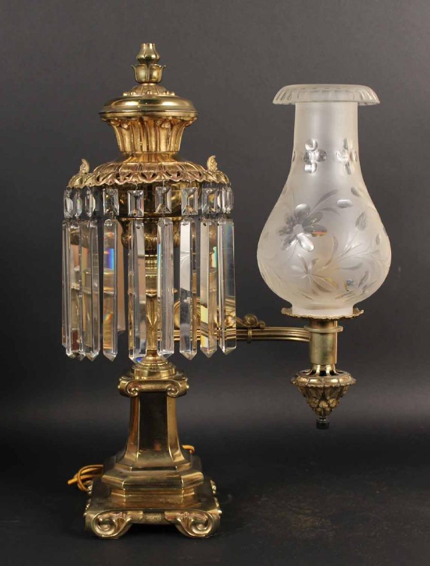 Pair of Gilt Bronze Single Arm Argand Lamps - 2