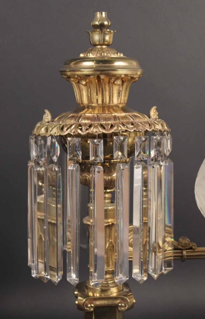 Pair of Gilt Bronze Single Arm Argand Lamps - 6