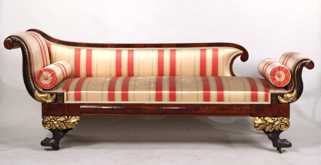 Neoclassical Parcel-Gilt Mahogany Recamier