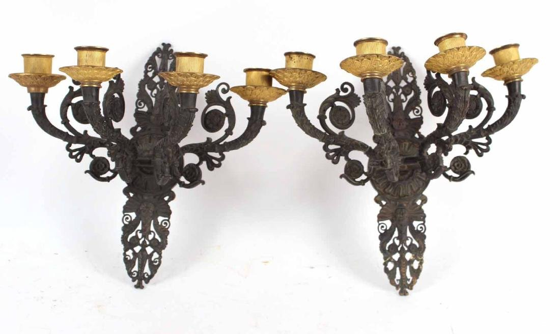 Pair of Charles X Gilt Bronze Wall Sconces