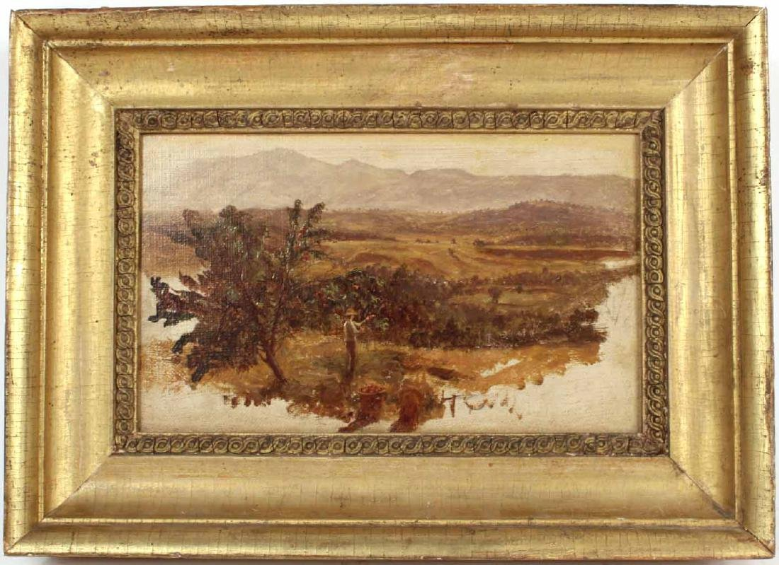 Oil on Canvas Landscape with Man Picking Apples
