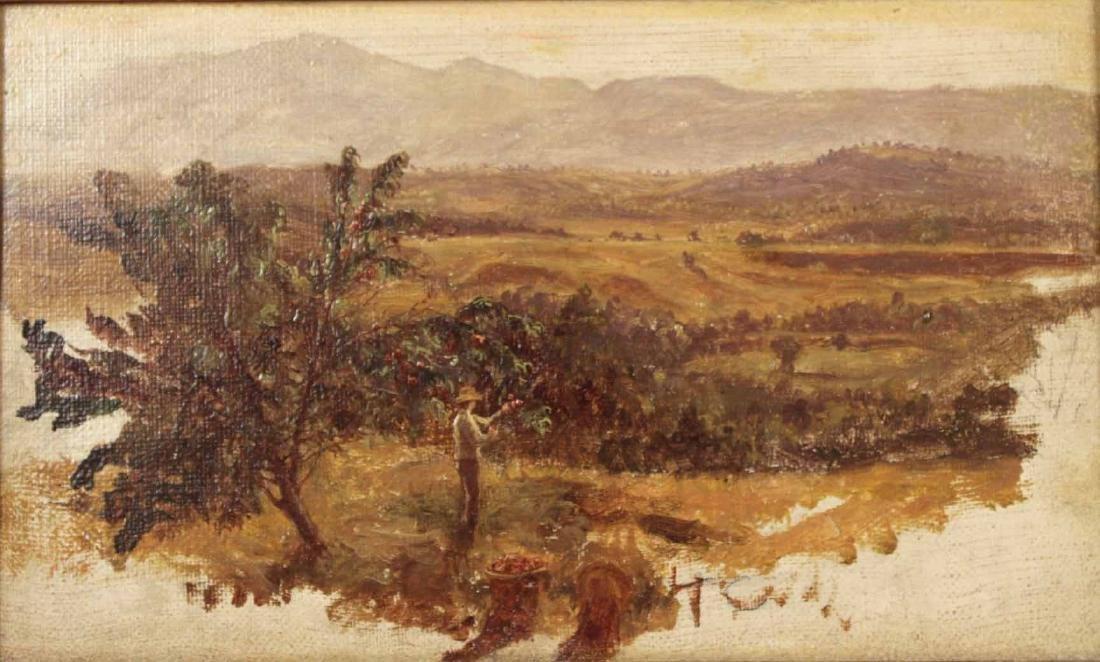 Oil on Canvas Landscape with Man Picking Apples - 2