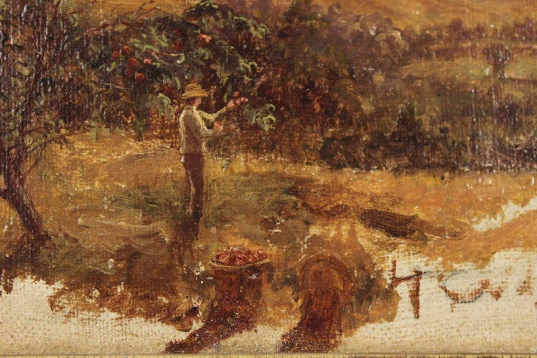 Oil on Canvas Landscape with Man Picking Apples - 3