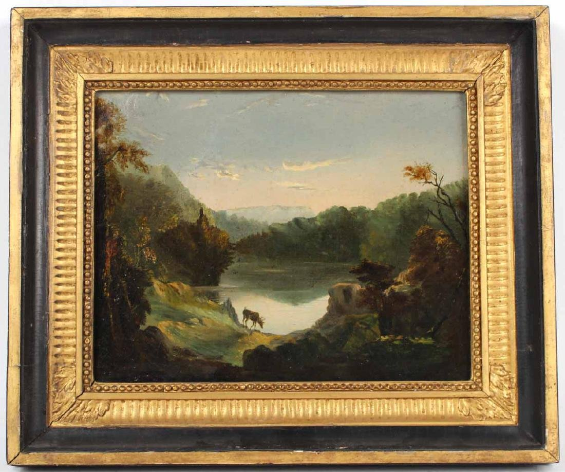 Oil on Canvas Landscape with Buck