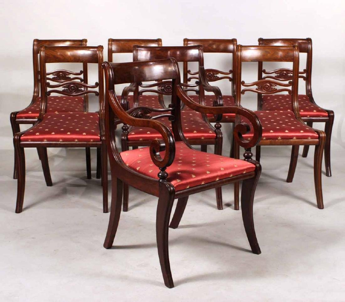 Eight Neoclassical Carved Mahogany Dining Chairs