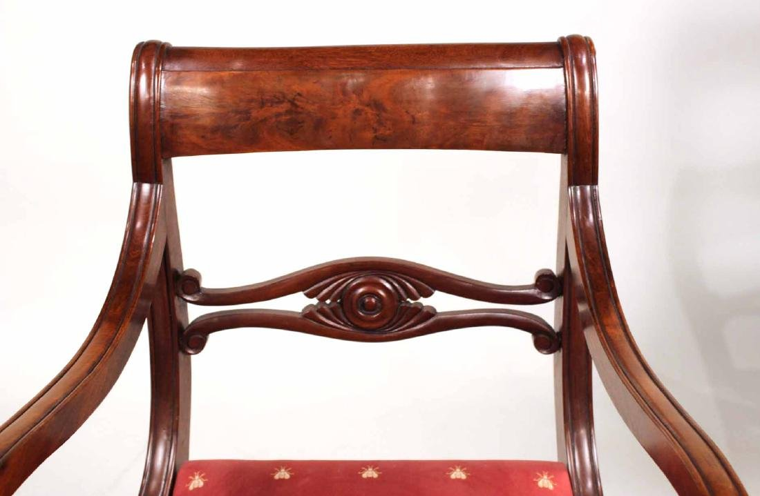 Eight Neoclassical Carved Mahogany Dining Chairs - 5