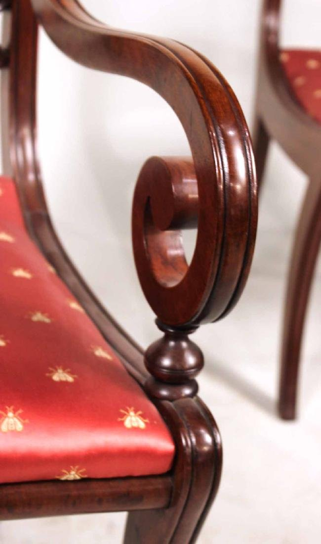 Eight Neoclassical Carved Mahogany Dining Chairs - 7