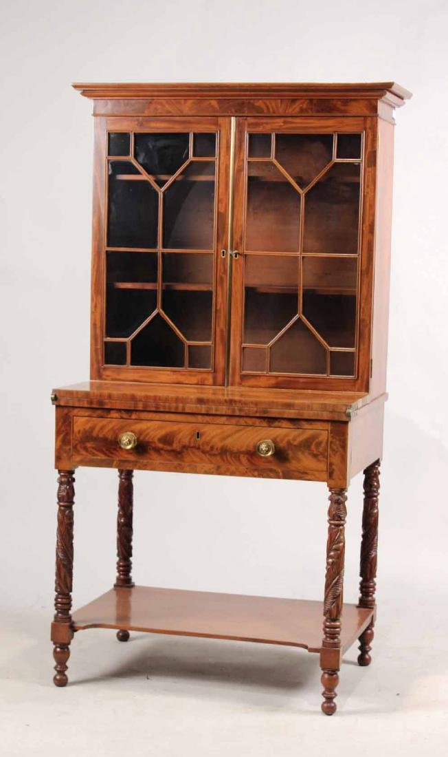 Late Federal Carved Mahogany Desk and Bookcase