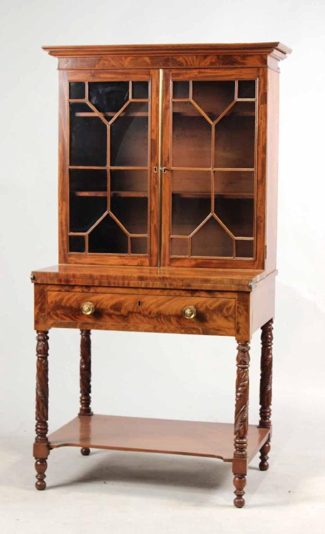 Late Federal Carved Mahogany Desk and Bookcase - 2