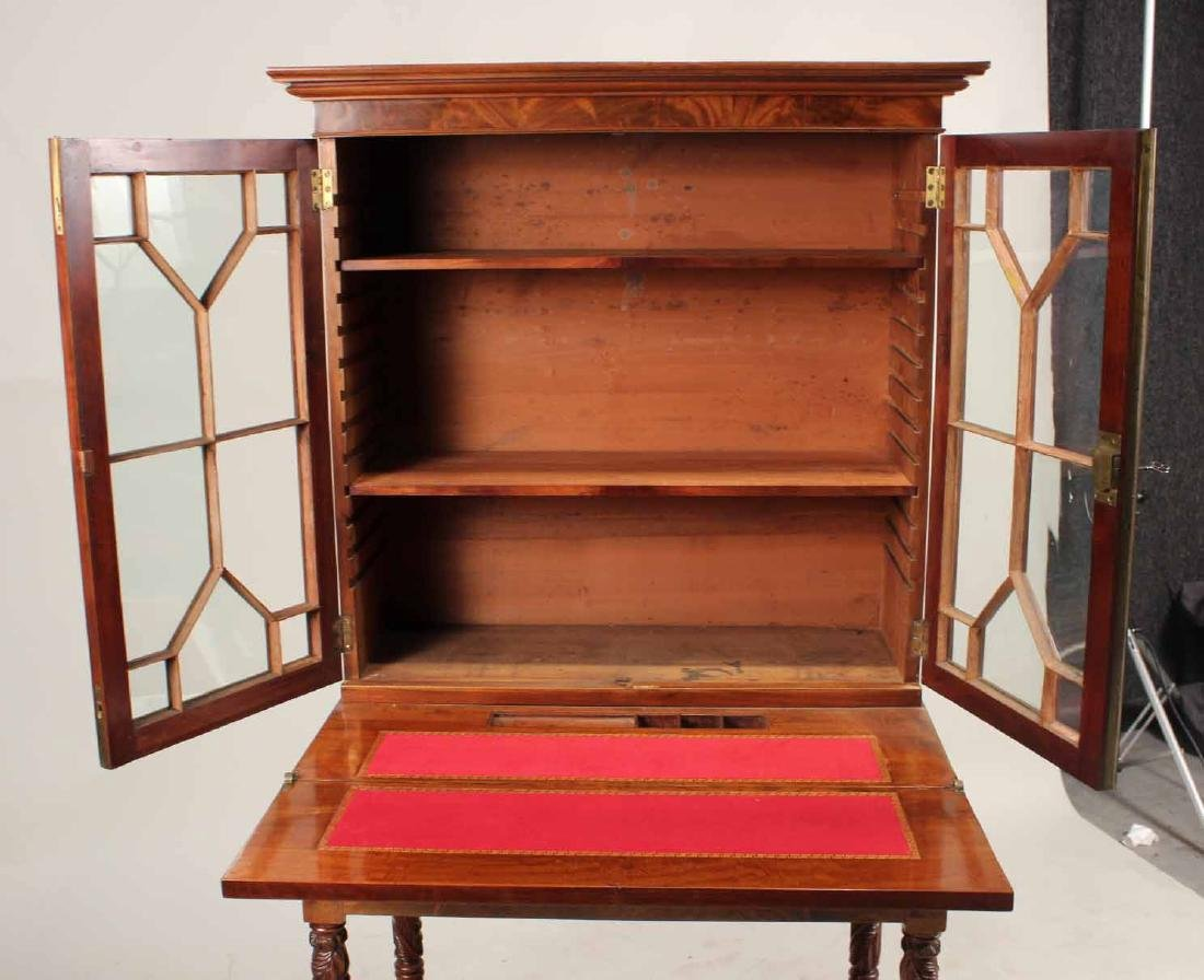 Late Federal Carved Mahogany Desk and Bookcase - 7