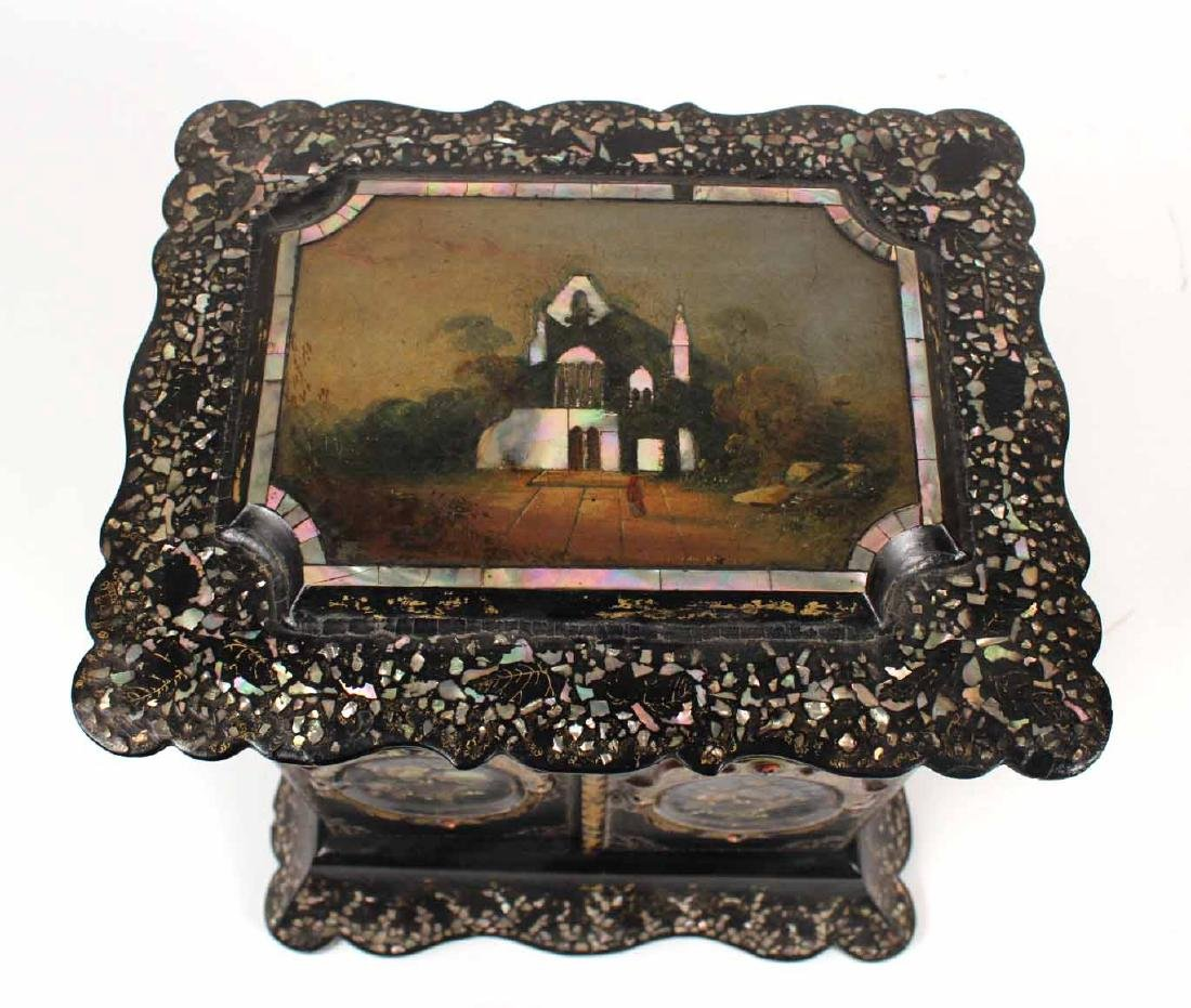 Victorian Mother of Pearl &Paper Mache Sewing Box - 2