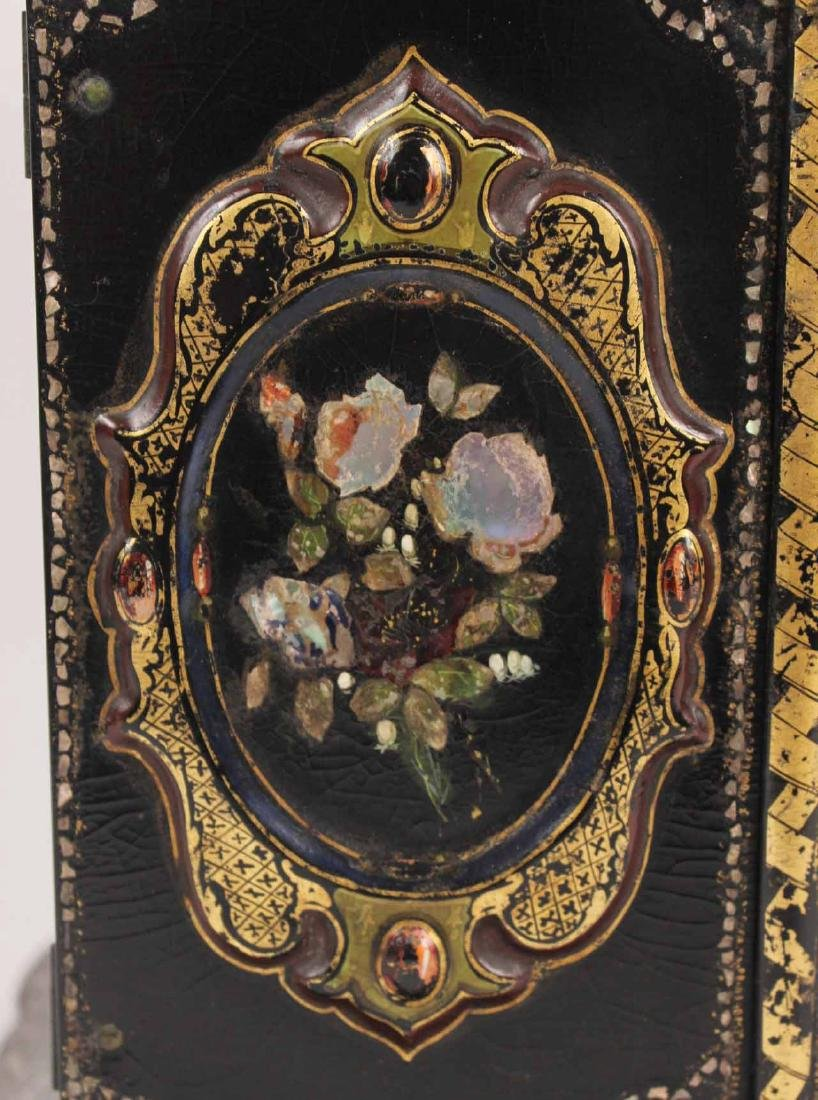 Victorian Mother of Pearl &Paper Mache Sewing Box - 4