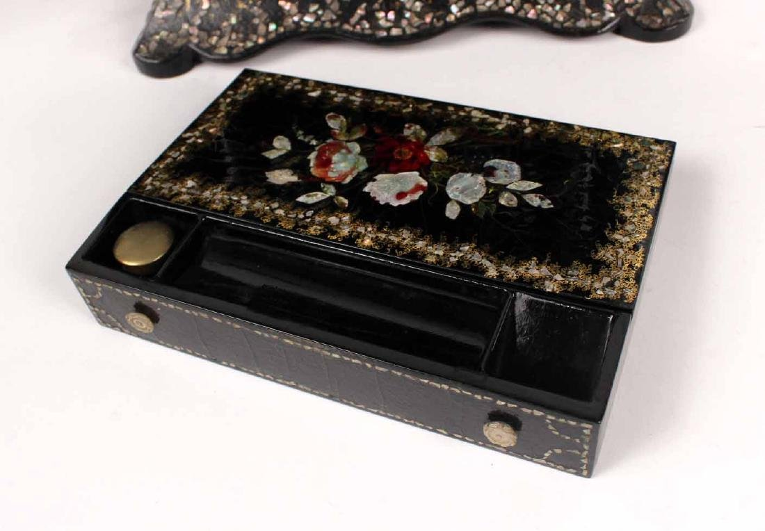 Victorian Mother of Pearl &Paper Mache Sewing Box - 9