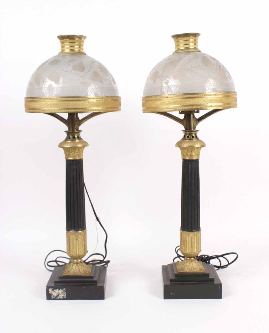 Pair of Gilt Bronze Sinumbra Fluid Lamps