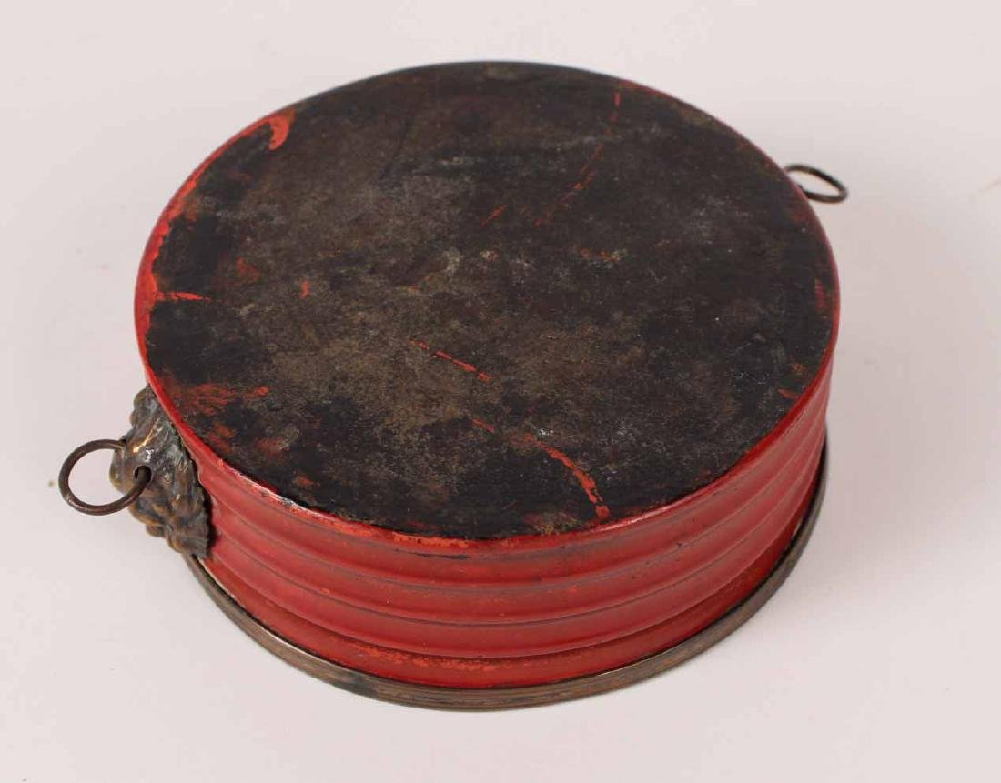 Pair of Charles X Brass & Red Tole Wine Coasters - 5
