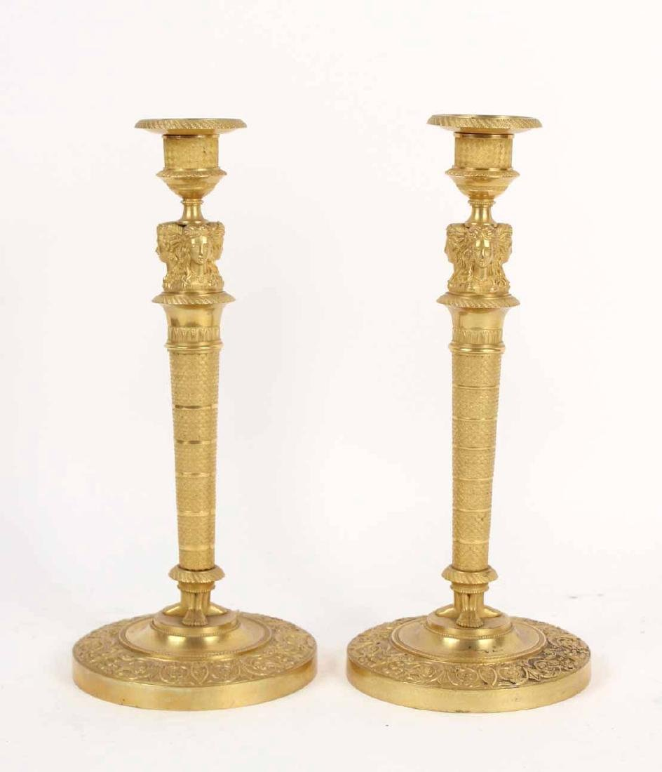 Pair of Neoclassical Gilt Bronze Candlesticks