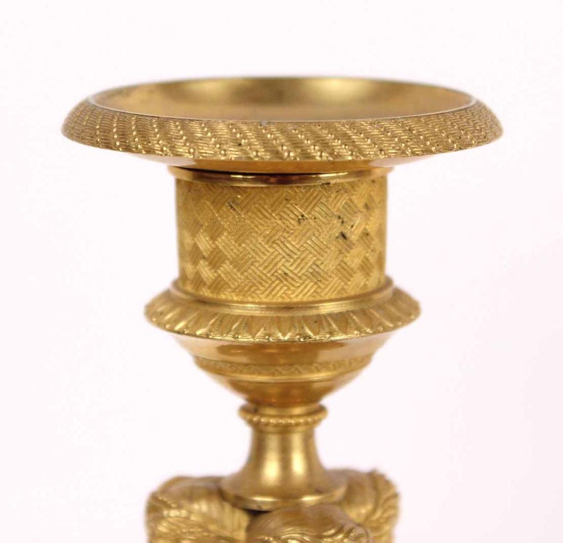 Pair of Neoclassical Gilt Bronze Candlesticks - 5