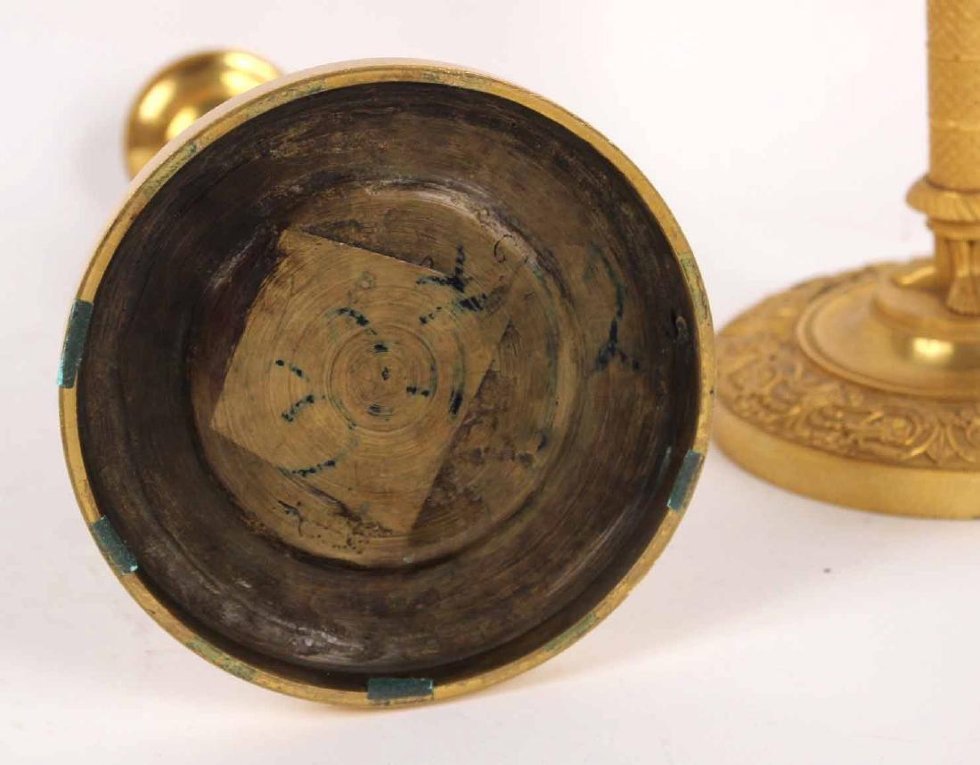 Pair of Neoclassical Gilt Bronze Candlesticks - 6