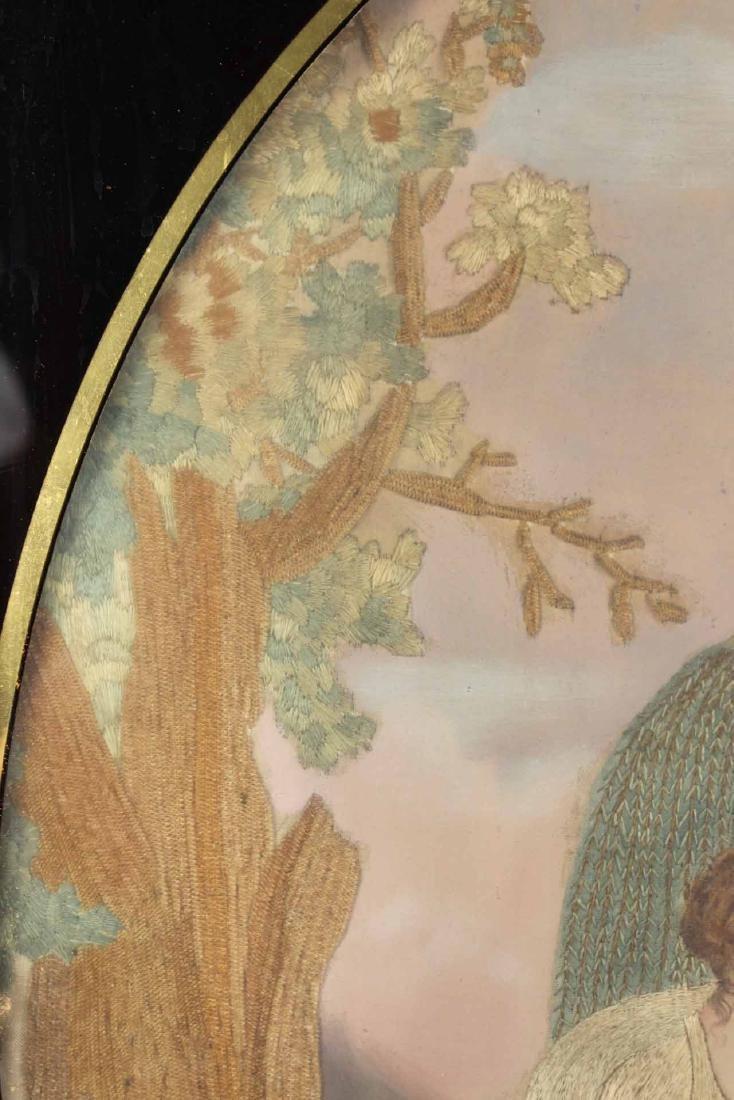 Egloisme Framed Needlework on Silk Mourning Scene - 7