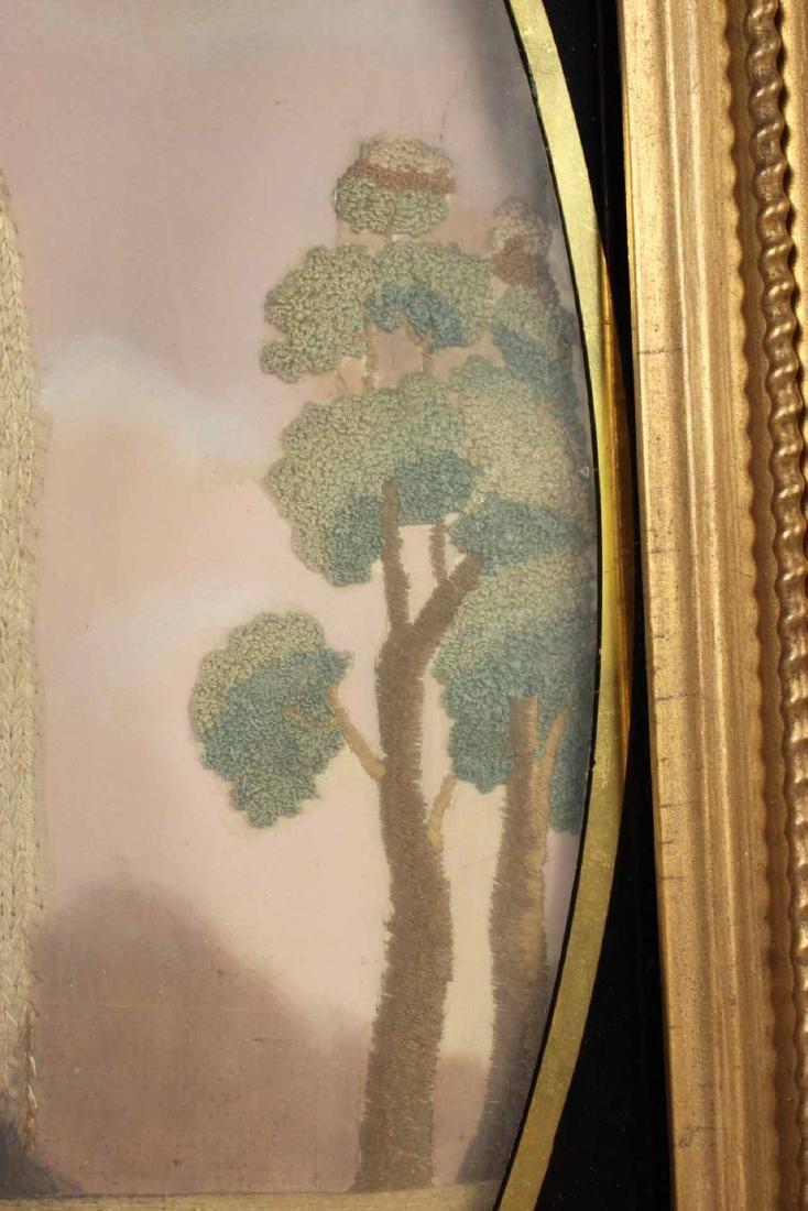 Egloisme Framed Needlework on Silk Mourning Scene - 8