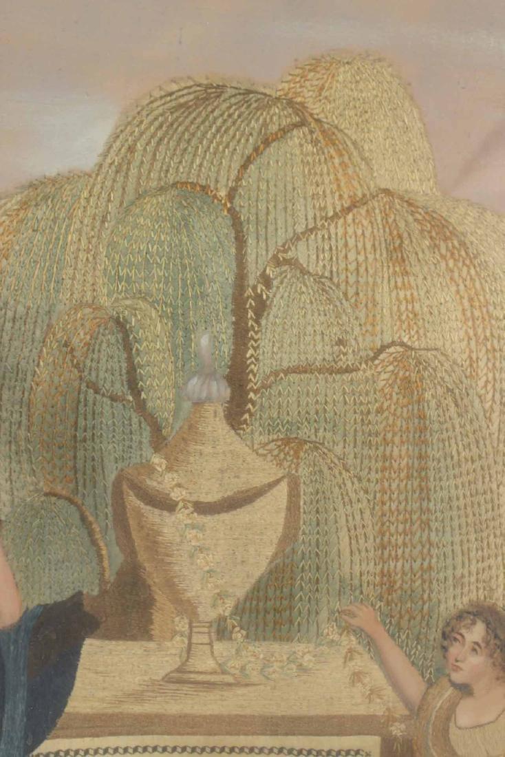 Egloisme Framed Needlework on Silk Mourning Scene - 9