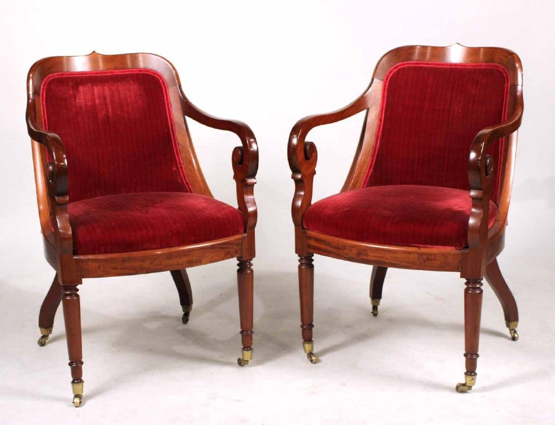 Pair of Neoclassical Mahogany Armchairs