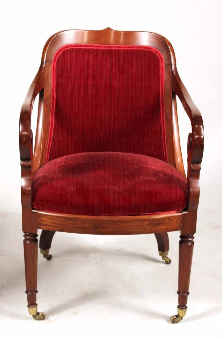 Pair of Neoclassical Mahogany Armchairs - 6