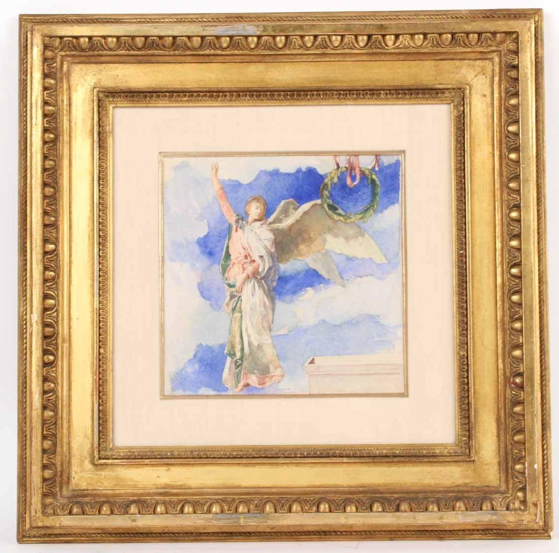 Watercolor, Figure with Wreath, John LaFarge