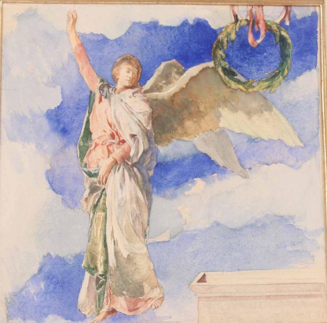 Watercolor, Figure with Wreath, John LaFarge - 2
