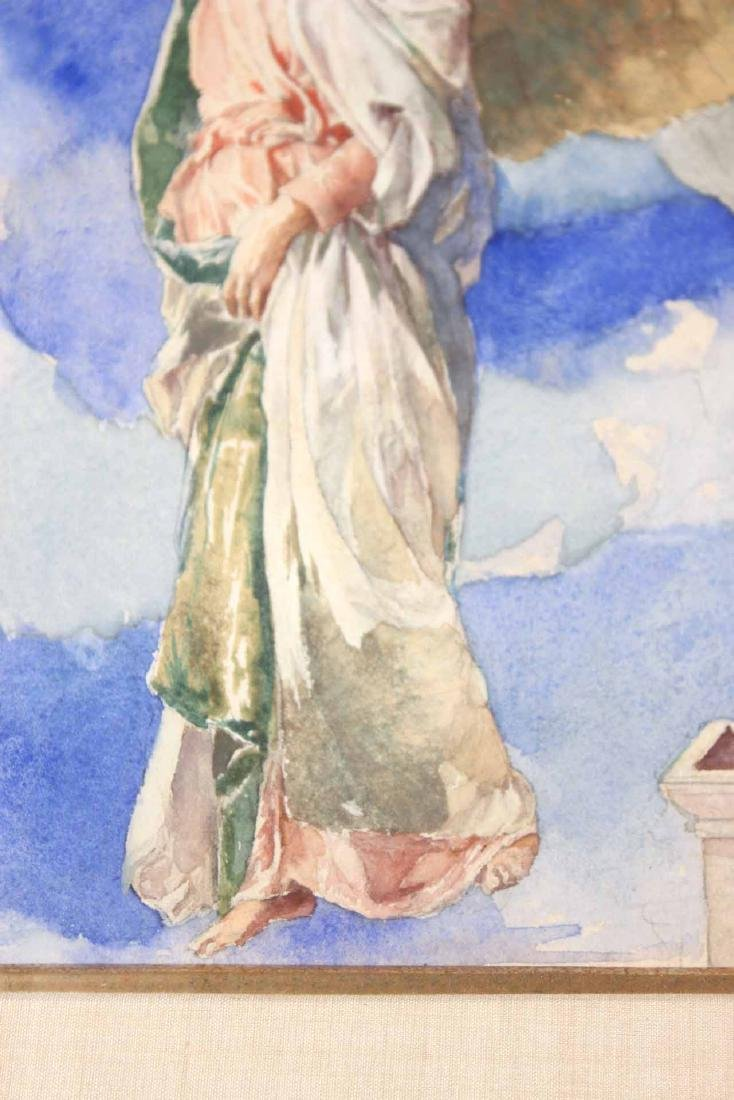 Watercolor, Figure with Wreath, John LaFarge - 7
