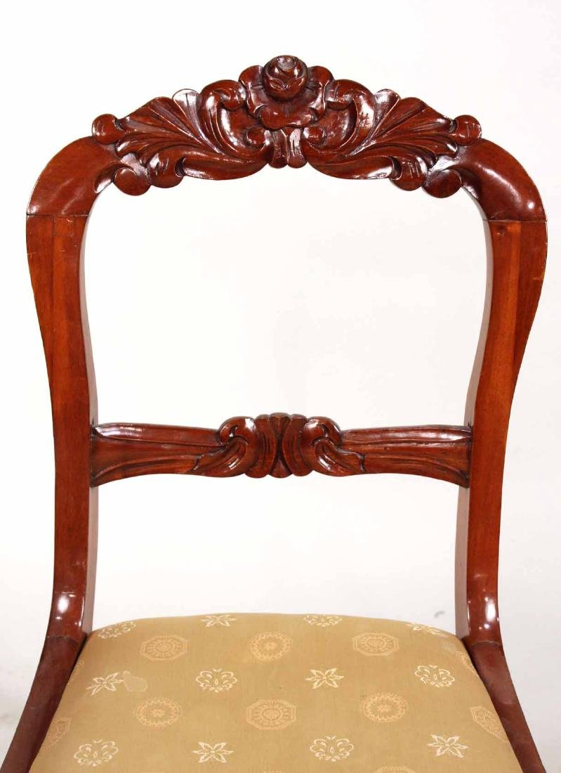Three Victorian Carved Mahogany Side Chairs - 3