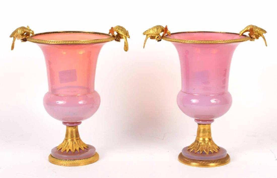 Pair of Ormolu Mounted Pink Opaline Glass Urns