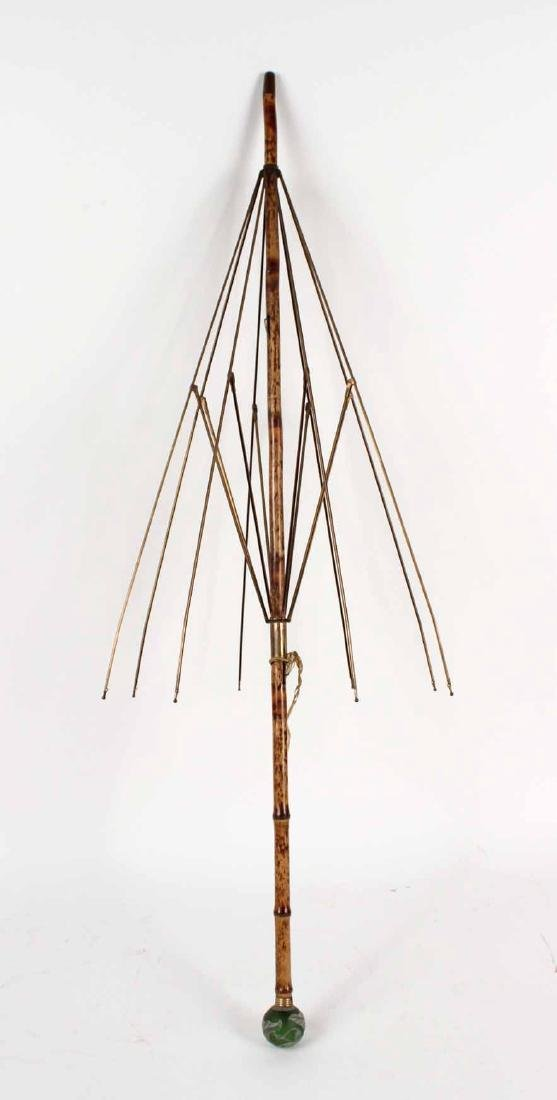 Cameo Art Glass Mounted Bamboo Umbrella
