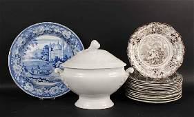 Ten Staffordshire Transferware Plates