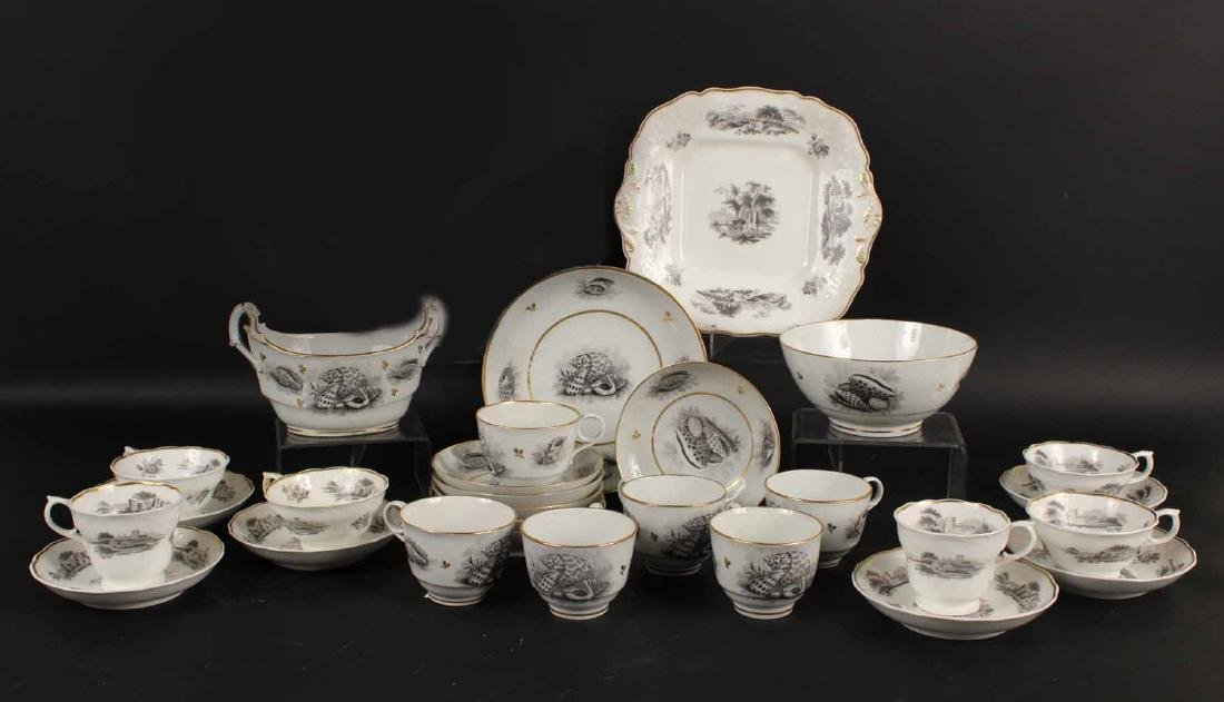 Two Porcelain Transferware Dessert Service