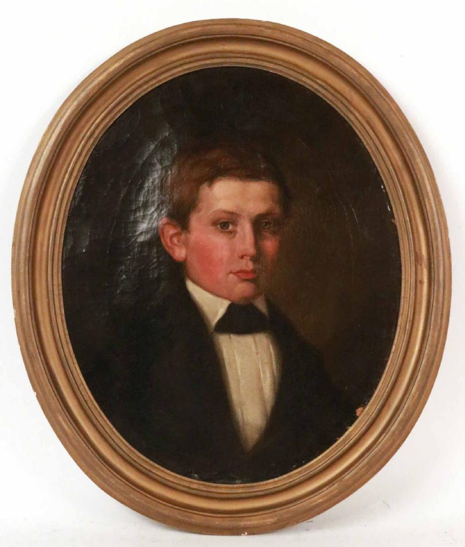 Oil in Canvas, Oval Portrait of a Young Man