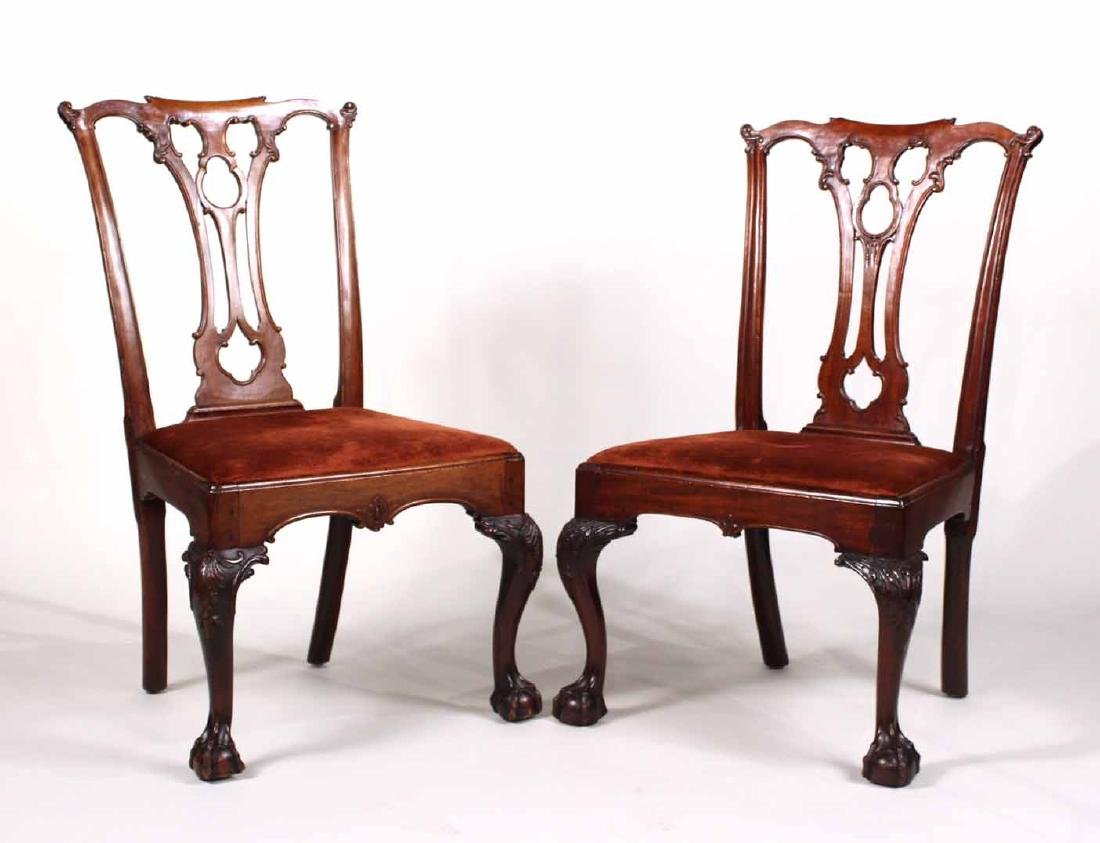 Near Pair of Chippendale Mahogany Side Chairs